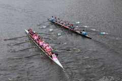 Princeton University (left) and Columbia University(right) races in the Head of Charles Regatta Women's Championship Eights Royalty Free Stock Images
