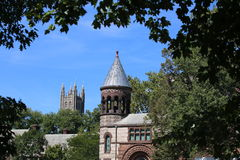 Princeton University in New Jersey. Princeton University in the state of New Jersey Architecture, Church tops, building roof, rooftops Royalty Free Stock Photo