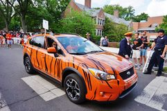 The Princeton University 2015 P-rade. PRINCETON, NJ -MAY 30, 2015- Princeton University alumni dressed in orange and black march joyously in the P-rade, the Stock Photography
