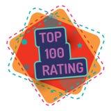 Principal 100 évaluant Qualité de bannière de couleur de vecteur illustration stock