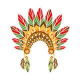 Principal capo con las plumas, de la guerra impresión étnica inspirada cultura india nativa del estilo de Boho Fotografía de archivo