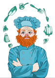 Principal cocinero, maestro cocinero Thinks sobre cocinar con sus brazos cruzados Fotografía de archivo