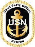 Principal contramaestre Retired en vector negro de la etiqueta del logotipo de la marina de guerra de Estados Unidos USN EPS carr imagen de archivo libre de regalías