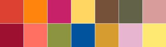 Principal 14 couleurs de Pantone de la palette 2019 d'été de ressort de saison images libres de droits