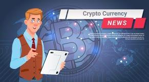 Principal crypto reportage de devise d'homme Bitcoin d'or au-dessus de concept d'argent de Web de Digital de carte du monde illustration de vecteur