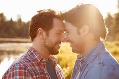 Principal e ombros disparados de pares alegres masculinos românticos Imagem de Stock Royalty Free