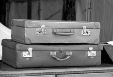 Principal en cuir de valises employé dans le voyage par les ancêtres Images libres de droits