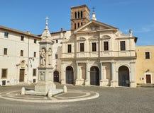 Basilica San Bartolomeo alle Isola, Tiberina island. Rome. Lazio, Italy. Principal facade of Basilica di San Bartolomeo alle Isola in Isola Tiberina island Royalty Free Stock Images