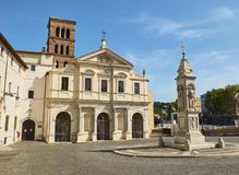 Basilica San Bartolomeo alle Isola, Tiberina island. Rome. Lazio, Italy. Principal facade of Basilica di San Bartolomeo alle Isola in Isola Tiberina island Stock Images