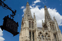 Principal Facade of Burgos Gothic Cathedral. Spain Royalty Free Stock Images