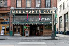 Principal facade of Merchants Cafe, the oldest bar in Seattle, Washington, USA. royalty free stock images