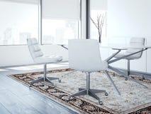 Principal oficina moderna del ` s con las sillas blancas representación 3d Imagen de archivo libre de regalías