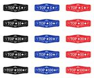 Principal 5, principal 10, principal 20, principal 50, principal 100 Ensemble d'insigne noir, rouge, bleu Photos stock