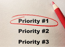 Principal prioridad Imágenes de archivo libres de regalías