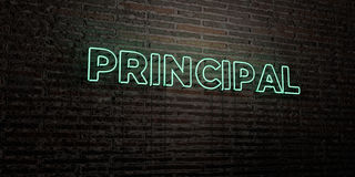 PRINCIPAL -Realistic Neon Sign on Brick Wall background - 3D rendered royalty free stock image Stock Image