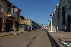 Principal street view at afternoon. Travel imagery for Nicaragua Royalty Free Stock Photo
