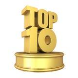 Principale 10 sul podio isolato Fotografia Stock Libera da Diritti