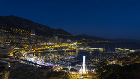 Principality of Monaco - bay in the night. Long exposure night photography of the bay area in the Principality of Monaco Stock Photo