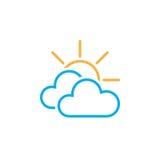 Principalmente icona nuvolosa del tempo isolata su fondo bianco Illustrazione di vettore illustrazione vettoriale