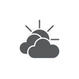 Principalmente icona nuvolosa del tempo isolata su fondo bianco Illustrazione di vettore illustrazione di stock