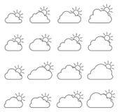 Principalmente icona nuvolosa su fondo bianco illustrazione di stock