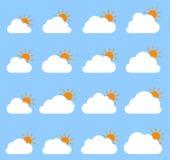 Principalmente icona nuvolosa su fondo blu illustrazione di stock