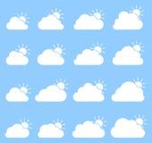 Principalmente icona nuvolosa su fondo blu illustrazione vettoriale