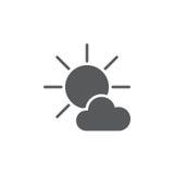 Principalmente icona soleggiata del tempo isolata su fondo bianco Illustrazione di vettore Immagine Stock