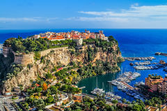Principaute of monaco and monte carlo. The rock the city of principaute of monaco and monte carlo in the south of France Royalty Free Stock Photos