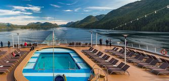 Principe Channel, BC, Canada - September 13, 2018: Cruise ship passengers viewing beautiful scenery of the Inside stock photos