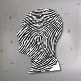 Principe de l'enquête criminelle associant une empreinte digitale au profil du tueur illustration de vecteur