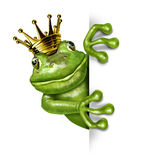 Principe della rana con la parte superiore dell'oro che tiene un segno Fotografie Stock Libere da Diritti