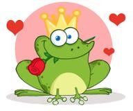 Principe della rana con una rosa in bocca e nei cuori Fotografia Stock