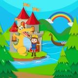 Principe e drago nella terra leggiadramente Fotografia Stock
