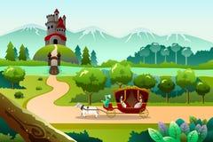 Principe e principessa che guidano un vagone royalty illustrazione gratis