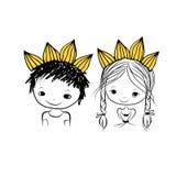 Principe e principessa con la corona sopra si dirigono verso la vostra progettazione Immagine Stock Libera da Diritti