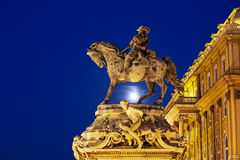 Principe Eugene della statua della Savoia alla notte Immagine Stock