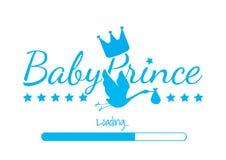 Principe Loading, progettazione del bambino di vettore, esprimente progettazione, principe Crown, siluetta della cicogna isolata  illustrazione di stock