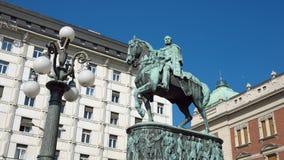 Principe Mihailo Equestrian Statue In Belgrade, Serbia immagine stock