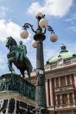 Principe Mihailo Monument al quadrato della Repubblica fotografia stock libera da diritti