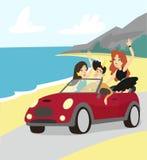 Principe moderno che conduce l'automobile del cabriolet, amici viaggia in macchina all'illustrazione di vettore del mare Immagini Stock Libere da Diritti