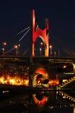 Principes de Espana Bridge in the evening, in Bilbao, Spain Royalty Free Stock Photos