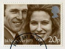 Principessa Anne e Mark Phillips Royal Wedding Postage Stamps Fotografie Stock Libere da Diritti