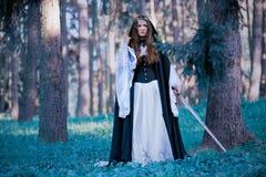Principessa antica con la spada Fotografia Stock Libera da Diritti