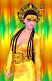 Principessa asiatica con la corona dell'oro contro un oro e un fondo verde Bellezza, modo e cosmetici digitali moderni di arte illustrazione di stock