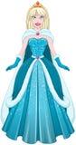 Principessa In Blue Dress e mantello della neve Fotografie Stock