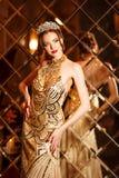 Principessa della regina della donna in corona e vestito da lux, luci fa festa il backgr fotografia stock