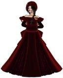 Principessa di inverno nel rosso Fotografia Stock