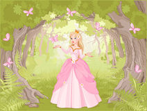 Principessa di passeggiata nel legno fantastico