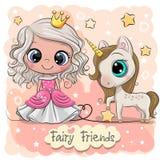 Principessa e unicorno svegli di fiaba del fumetto illustrazione vettoriale